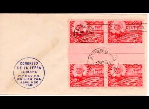Cuba 1948, 4er-Block 2 C. Lepra Kongress m. Zwischensteg auf Ersttagsbrief