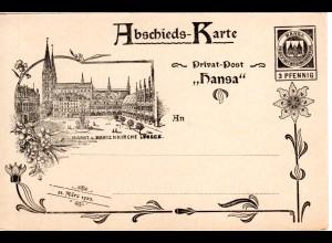 DR Private Stadtpost Lübeck 1900, ungebr. 3 Pf. Hansa Abschieds-Karte