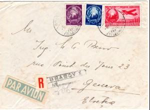 Rumänien 1949, 5+10+30 L. auf Luftpost Einschreiben Brief i.d. Schweiz. R-Label!