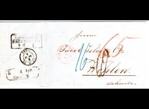 NL 1863, roter K1 Amsterdam auf Porto Brief via Preussen u. Baden i.d. Schweiz