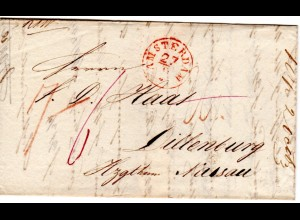 NL 1838, roter K1 Amsterdam auf Porto Brief n. Dillenburg Herzotum Nassau, Taxis