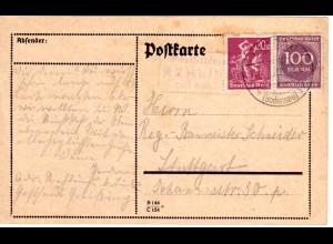 DR 1923, späte Bayern Posthilfstelle REHLINGS Taxe Schlachters auf Infla Karte.