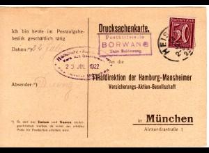 DR 1922, späte Bayern Posthilfstelle BÖRWANG Taxe Haldewang auf Infla Karte