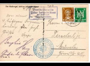 DR 1927, späte Bayern Posthilfstelle Prinz Luitpold Haus auf Karte m. 5 Pf.
