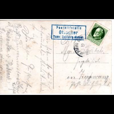 Bayern 1914, Posthilfstelle OTTACKER Taxe Sulzberg auf Karte m. 5 Pf.