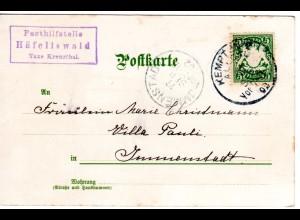 Bayern 1902, Posthilfstelle HÄFELISWALD Taxe Kreuzthal auf Karte m. 5 Pf.