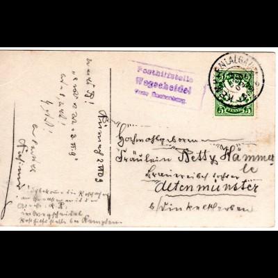 Bayern 1909, Posthilfstelle WEGSCHEIDEL Taxe Buchenberg auf Karte m. 5 Pf.