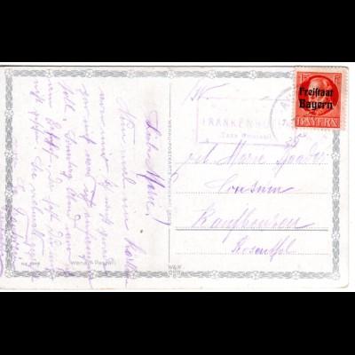 Bayern 1920, Posthilfstelle FRANKENHOFEN Taxe Osterzell auf AK m. 15 Pf.
