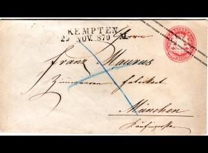 Bayern 1870, 3 Kr. Ganzsachenumschlag m. klarem L2 KEMPTEN