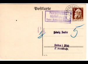 Bayern 1914, Posthilfstelle HÄFELISWALD Taxe Kreuzthal auf Privatganzsache