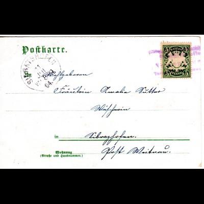 Bayern 1904, Posthilfstelle NELLENBRUCK Taxe Wengen als Entwerter auf AK m. 5 Pf