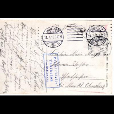 Bayern 1915, Posthilfstelle THALHOFEN Taxe Stöttwang als Ank.Stpl. auf FP Karte