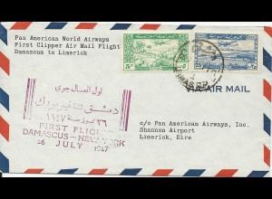 Syrien 1947, PAN AM Clipper Erstflug Brief n. Irland. #2557