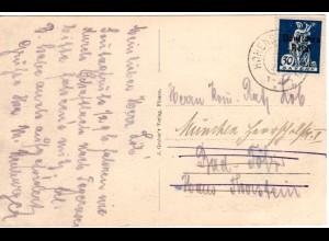 Bayern 1920, Reservestempel HOHENSCHWANGAU R auf AK m. DR 30 Pf. Abschied