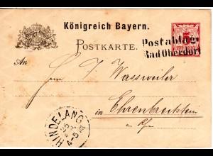 Bayern 1884, L2 Postablage Bad Oberdorf klar auf 5 Pf. Ganzsache