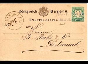 Bayern ca. 1879, L2 Postablage Bad Oberdorf in blau (!) auf 5 Pf. Ganzsache