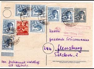 1948, Landpost Stpl. 24 KISDORFERWOHLD über Ulzburg auf 10fach Frankatur Ganzs.