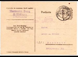 1946, Landpost Stpl. 17a HÖDINGEN über Überlingen auf 6 Rpf. Behelfs-Ganzsache