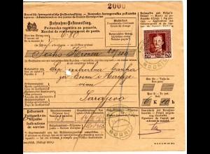 Bosnien 1918, 20 H. auf Nachnahme Postanweisung v. Modric über 6 Kr. 80 H.