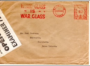 GB 1942, Zensur Brief v. St. Helens n. Faeroer m. Glas Propaganda-Freistempel