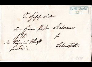 Braunschweig 1855, blauer R2 IMMENDORF auf Brief n. Lebenstedt