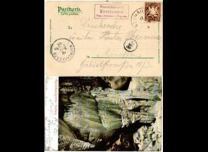 Bayern 1903, Posthilfstelle KROTTENSEE Taxe Neuhaus in violett auf AK m. 5 Pf.