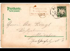 Bayern 1903, Posthilfstelle KROTTENSEE Taxe Neuhaus in schwarz auf AK m. 5 Pf.