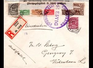 Schleswig 1920, 6 Marken auf Einschreiben Zensur Brief v. Schauby (Alsen)