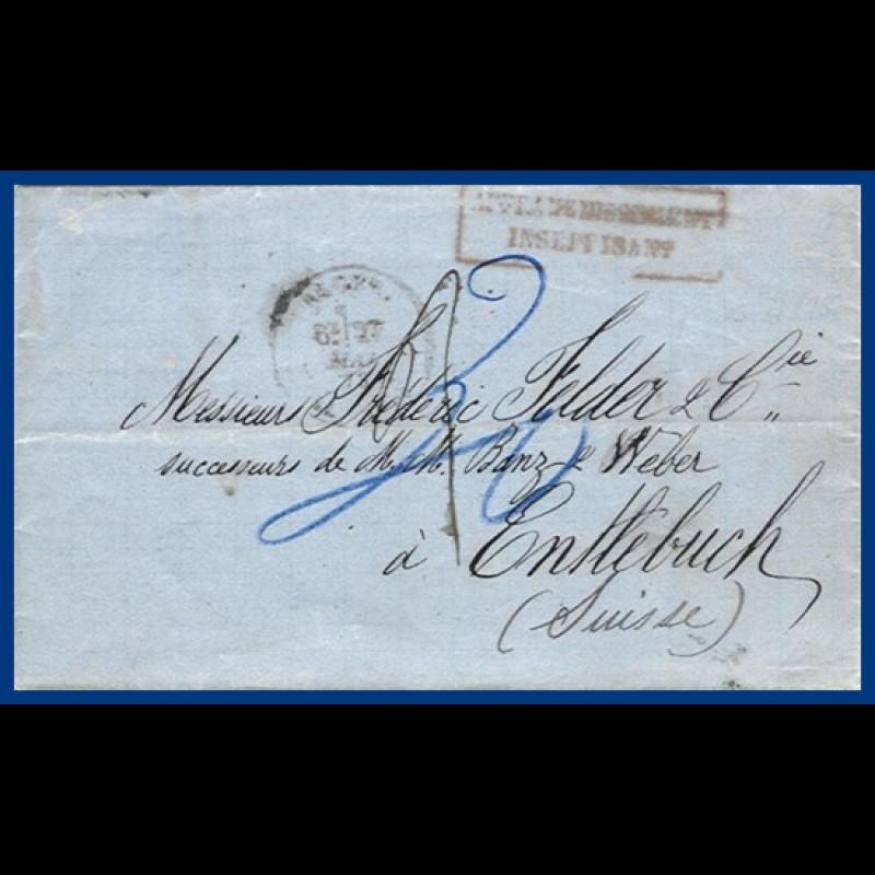 Algerien Schweiz 1873 Porto Brief Nach Entlebuch S15 Heiner
