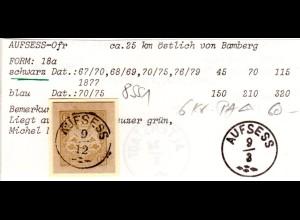 Bayern, 6 Kr. Postanweisungs Ga-Ausschnitt m. klarem Zierstpl. AUFSESS. Geprüft.