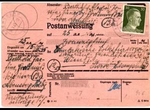 DR 1945, 30 Pf. auf später Postanweisung v. ABENSBERG n. Österreich.