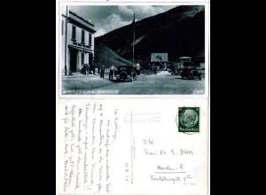 Österreich, Grenze am Brenner m. Oldtimern u. Persoinen, 1938 gebr. sw-AK
