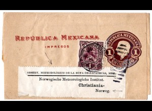Mexico 1911, 1 C on 1 C. stationery wrapper to Norway from Observ. Meteorologico