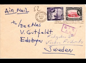 British Guiana 1965, 4+36 C. on Air Mail cover to Sweden with London OAT F.S.
