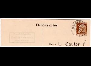 Bayern 1913, Posthilfstelle SCHWARZACH Taxe Mainleus auf Ganzsachenteil