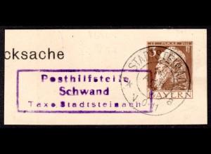 Bayern 1913, Posthilfstelle SCHWAND Taxe Stadtsteinach auf Ganzsachenteil