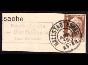 Bayern 1913, Posthilfstelle DÖRFLEINS Taxe Hallstadt auf Ganzsachenteil