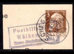 Bayern 1913, Posthilfstelle WÖLKENDORF Taxe Stadelhofen auf Ganzsachenteil