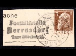 Bayern 1913, Posthilfstelle HERRNSDORF Taxe Röbersdorf auf Ganzsachenteil m. BP