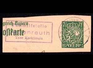 Bayern 1918, Posthilfstelle LETTENREUTH Taxe Marktzeuln auf Ganzsachenteil