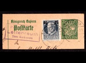 Bayern 1919, Posthilfstelle LETTENREUTH Taxe Marktzeuln auf Ganzsachenteil