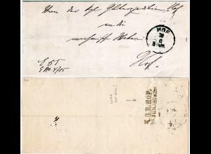 Bayern 1879, L2 K.G.E. HOF rücks. auf Güterexpedition Orts Brief m. K1 Hof.
