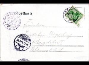 DR 1904, blauer K1 Postbriefkasten Steinerne Renne auf AK m. 5 Pf. v. Hasserode