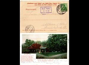 DR 1903, Posthülfstelle Zum Uglei auf Gasthaus Farb-AK m. 5 Pf. Germania