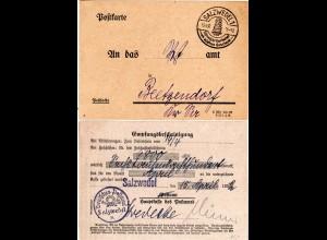 """DR 1932, Portofreie """"Postsache"""" (Empfangsbescheinigung) v. Salzwedel"""