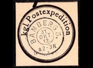 Bayern, Verschluss-Siegel Kgl Postexpedition m. K2 BAMBERG 5.