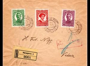Bosnien 1929, 3 Marken auf Reko Zensur Brief v. Sarajevo n. Liechtenstein.