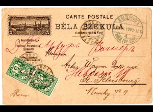 Schweiz 1903, 2x5 C. auf illustrierter Karte v. Chene-Bougeries n. Russland.