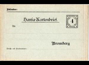 DR Private Stadtpost Bromberg, sauber ungebr. 4 Pf. Hansa Kartenbrief