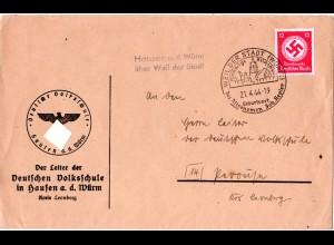 DR 1944, Landpost Stpl. HAUSEN a.d. Würm über Weil der Stadt auf Dienstbrief